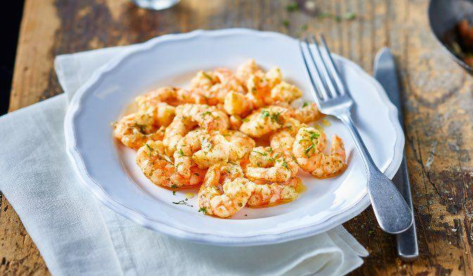 Crevettes à l'huile d'olive (4%) au persil et à l'ail